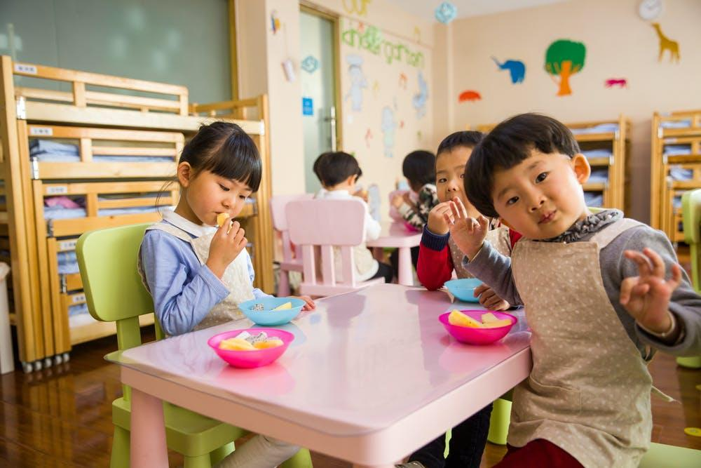 Children eating in pre-school