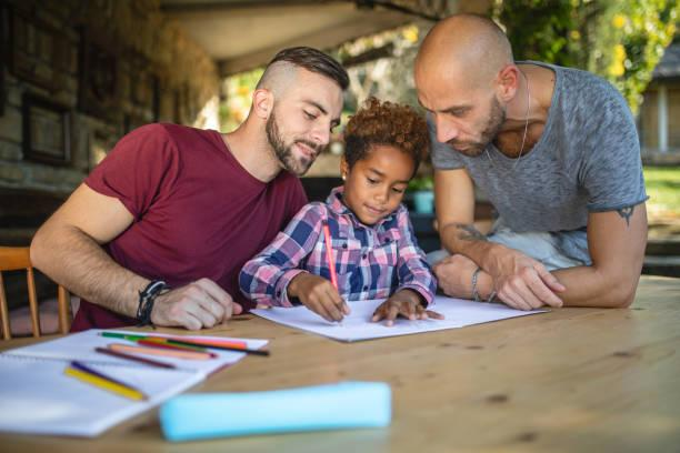 LGBT parents drawing with their child